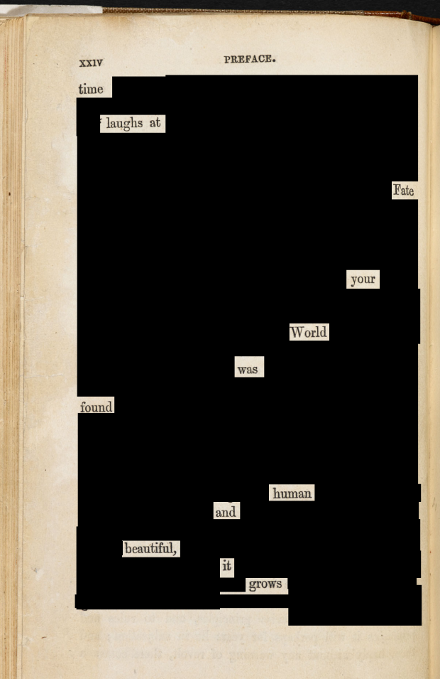 Preface Blackout Poem from Charlotte Bronte's Wuthering Heights
